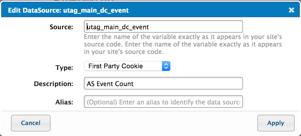 utag_main_dc_event Data Source