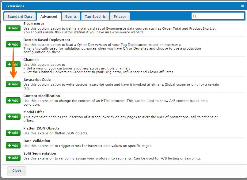 Tealium Management Console JS Extension