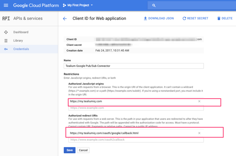Google Cloud – API Credentials – Application Restrictions