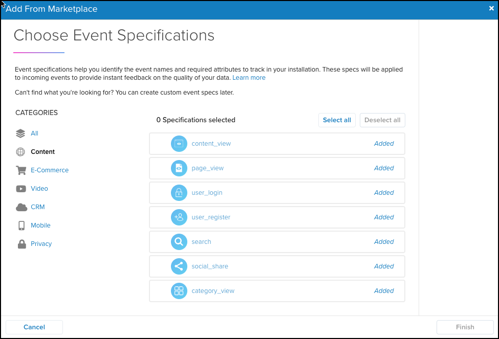 WhiteUI_EventStream_EventSpecifications_Choose Event Specifications and Click Finish.png