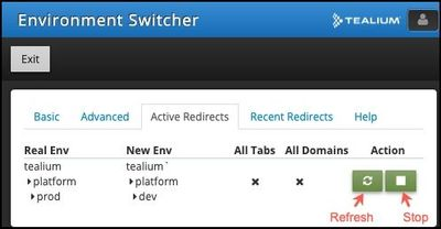 Tealium Tools_Environment Switcher_Active Redirects_Refresh and Stop Buttons.jpg