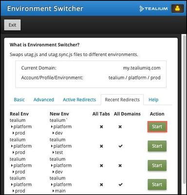 Tealium Tools_Environment Switcher_Recent Redirects Tab_Start.jpg