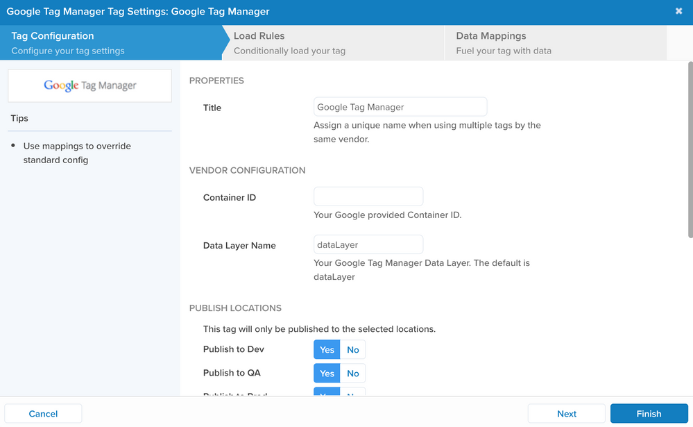 GTM Tag User Interface