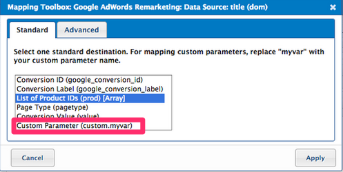 Solved: Google AdWords Remarketing custom variables