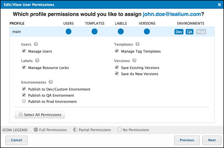 TiQ User Permissions Select Updated Permissions John Doe User.png