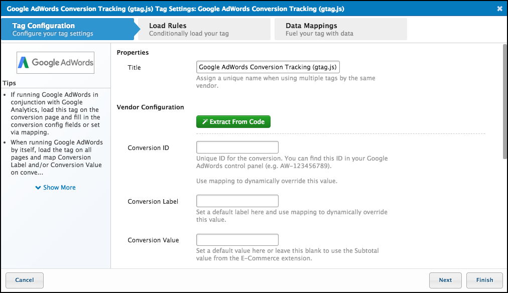 Google AdWords Conversion Tag Configuration - Tealium