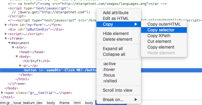 Solved: Get jQuery Selector in iFrame - Tealium Learning Center
