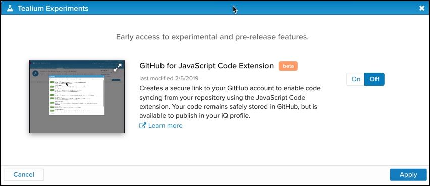 Tealium Experiments_GitHub for JavaScript Code Extension.jpg